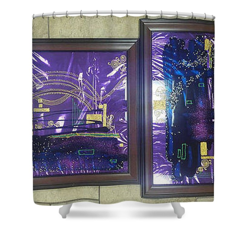Painting On Glass Shower Curtain featuring the glass art Abstract by Natali Sokolova
