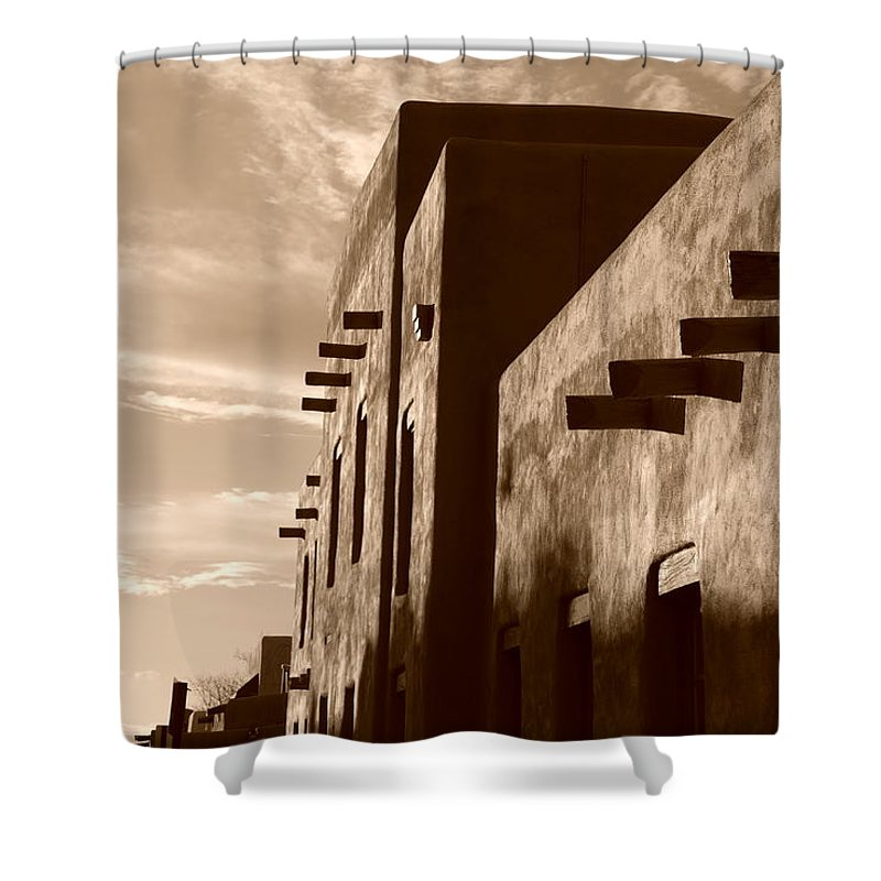 Architecture Shower Curtain featuring the photograph Adobe Sunset by Rob Hans