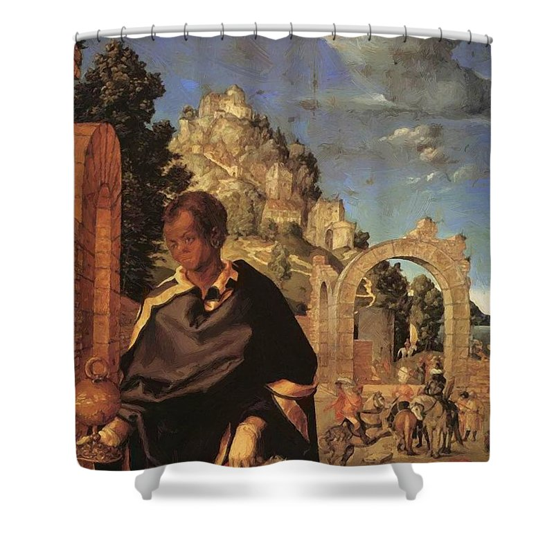 Adoration Shower Curtain featuring the painting Adoration Fragment by Durer Albrecht