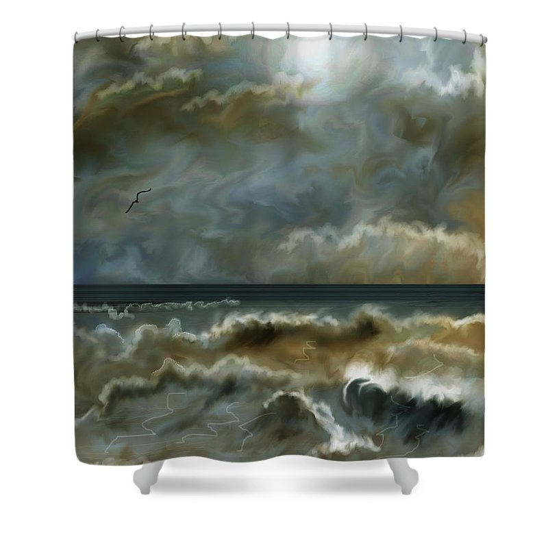 Seascape Shower Curtain featuring the painting After The Squall by Anne Norskog