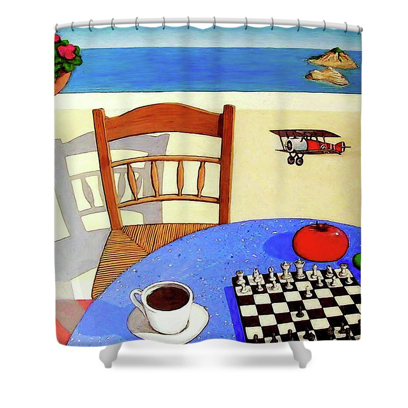 Chair Shower Curtain featuring the painting Afternoon Distractions by Snake Jagger