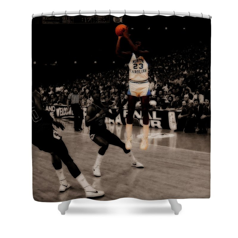 Shower Curtain Featuring The Mixed Media Air Jordan Unc Last Shot By Brian Reaves