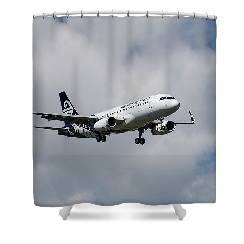 Air New Zealand Shower Curtain featuring the photograph Air New Zealand Airbus A320 by Smart Aviation
