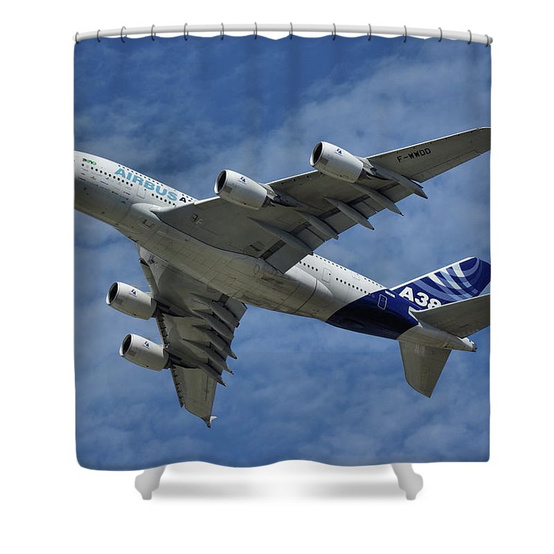 Airbus Shower Curtain featuring the photograph Airbus A380 by Tim Beach
