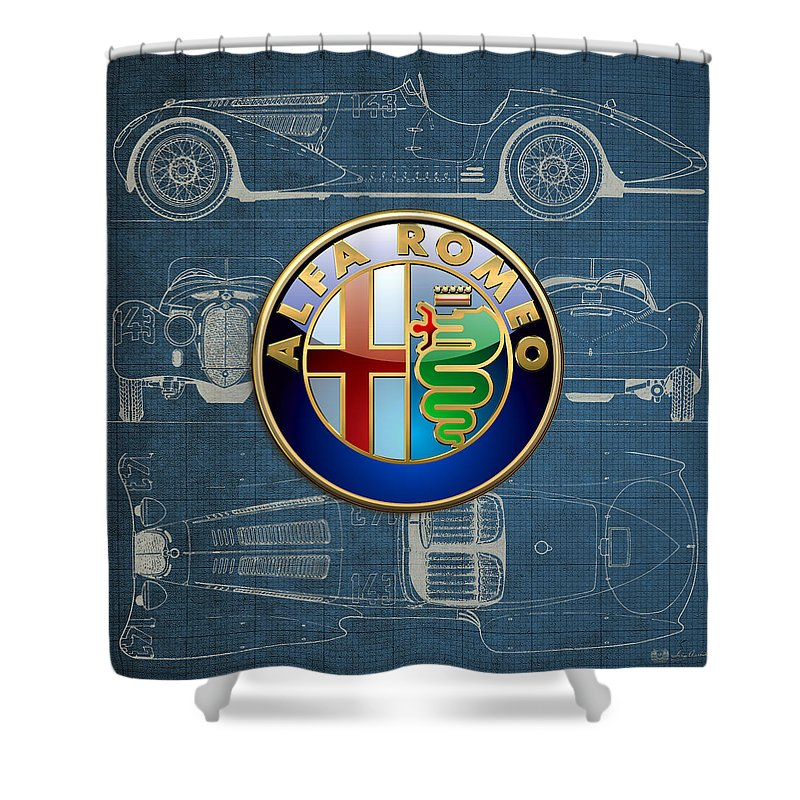 �wheels Of Fortune� By Serge Averbukh Shower Curtain featuring the photograph Alfa Romeo 3 D Badge over 1938 Alfa Romeo 8 C 2900 B Vintage Blueprint by Serge Averbukh