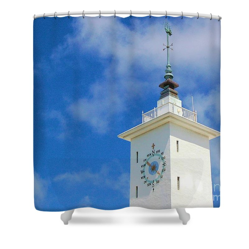 Clock Shower Curtain featuring the photograph All Along The Watchtower by Debbi Granruth