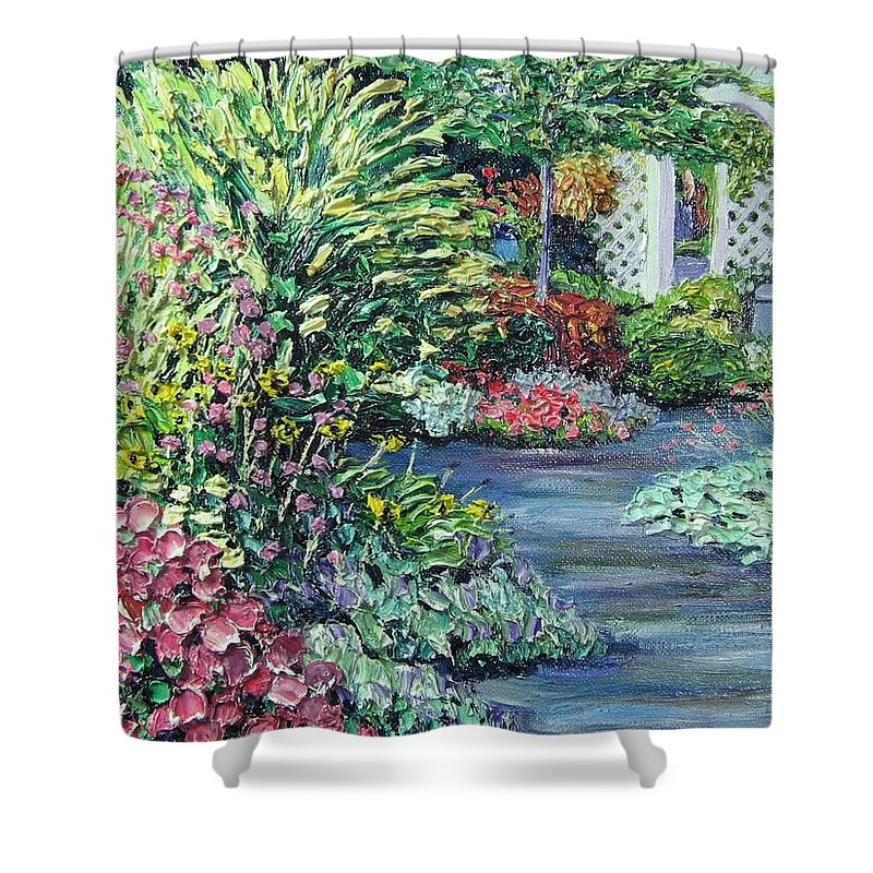 Garden Shower Curtain featuring the painting Amelia Park Pathway by Richard Nowak