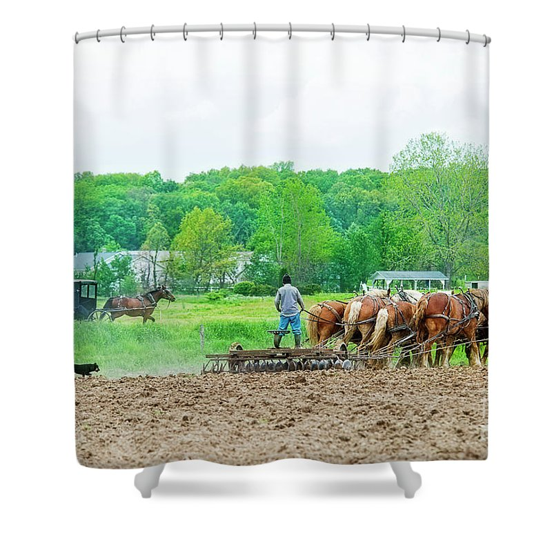 Amish Shower Curtain featuring the photograph Amish Boy Disking by David Arment