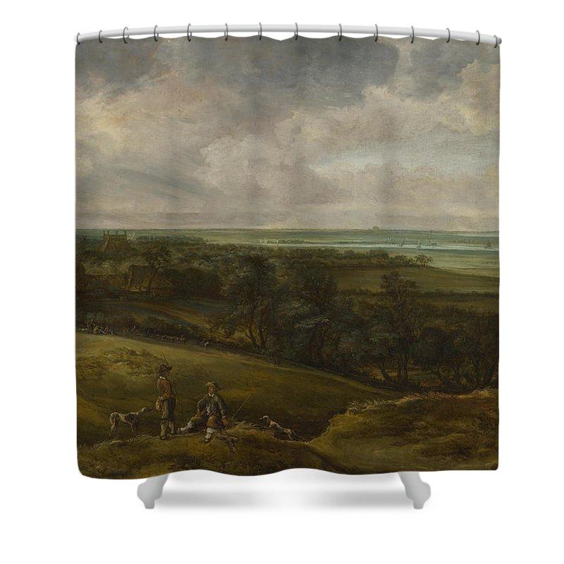 Animals Shower Curtain featuring the painting An Extensive River Landscape by Cornelis Van Der Schalcke