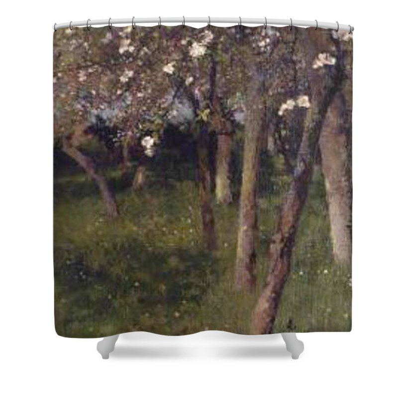 An Orchard Shower Curtain featuring the painting An Orchard by George Clausen