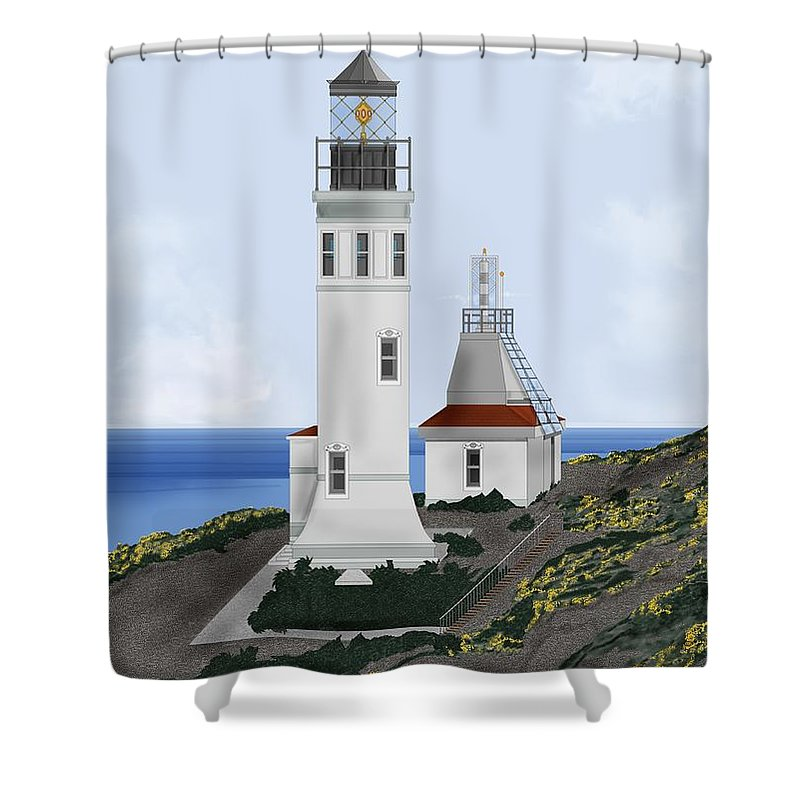 Lighthouse Shower Curtain featuring the painting Anacapa Lighthouse California by Anne Norskog