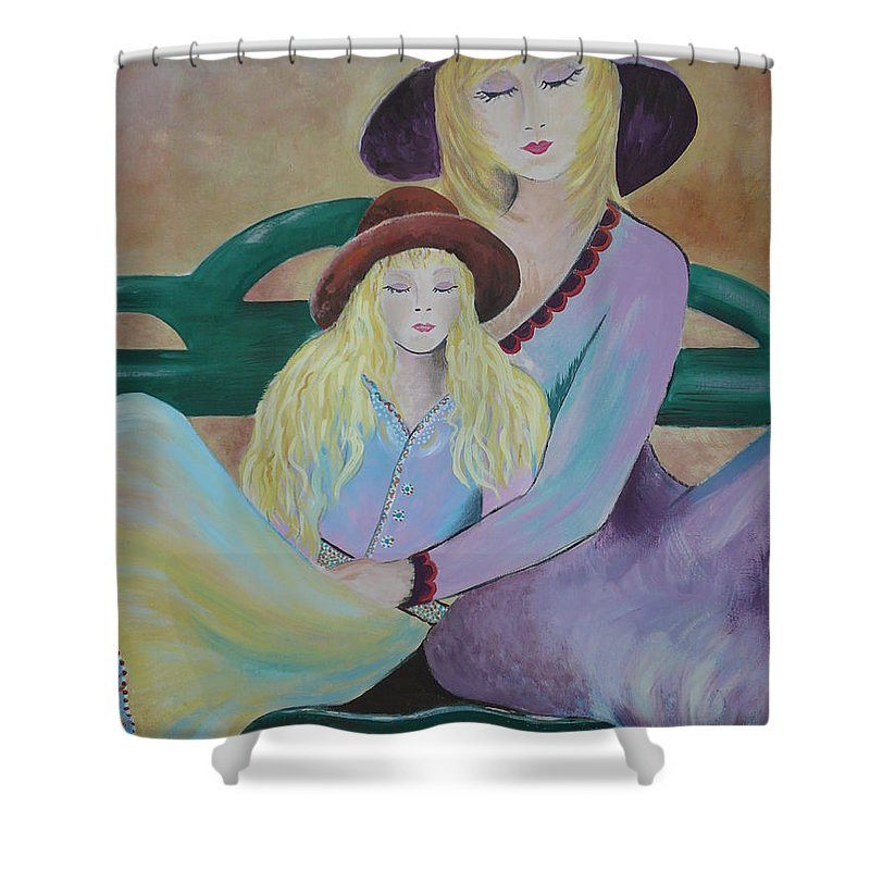 Mother/daughter Shower Curtain featuring the painting Angel Face by Kris Crollard
