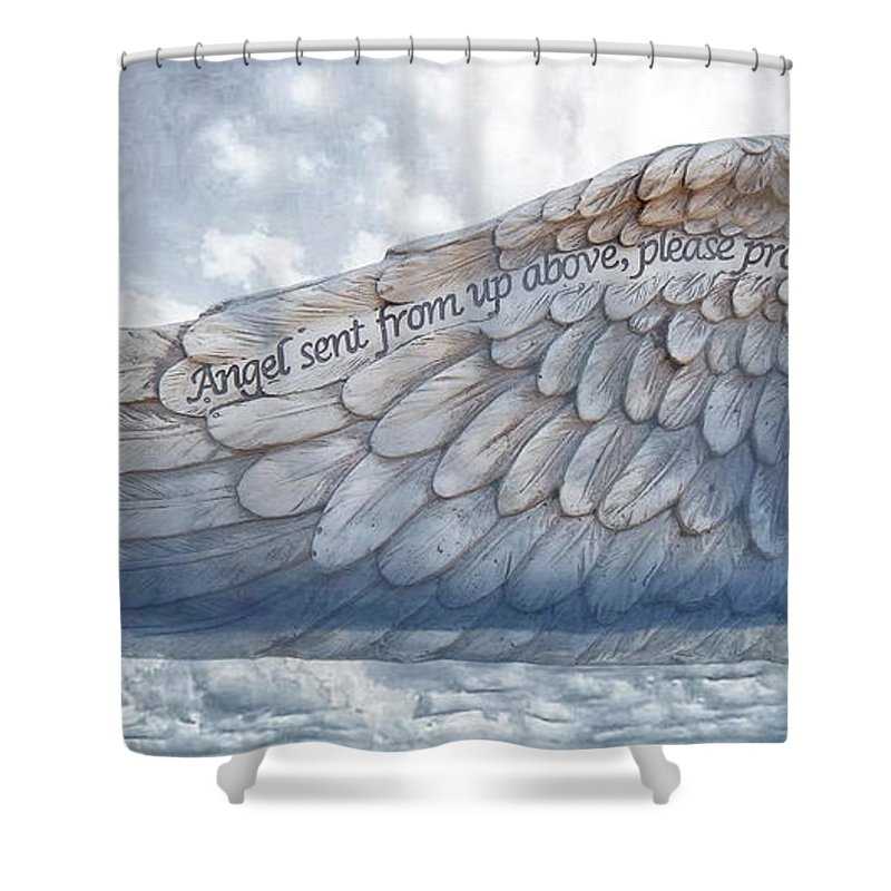 Angel Wing Shower Curtain featuring the digital art Angel Wing by To-Tam Gerwe