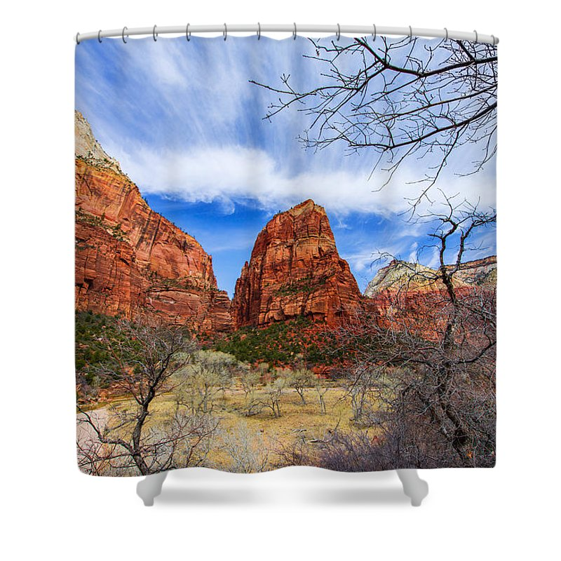 Angels Landing Shower Curtain featuring the photograph Angels Landing by Chad Dutson