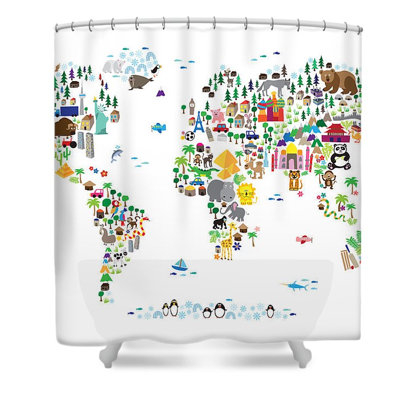 Animal map of the world for children and kids shower curtain for map of the world shower curtain featuring the digital art animal map of the world for gumiabroncs Images