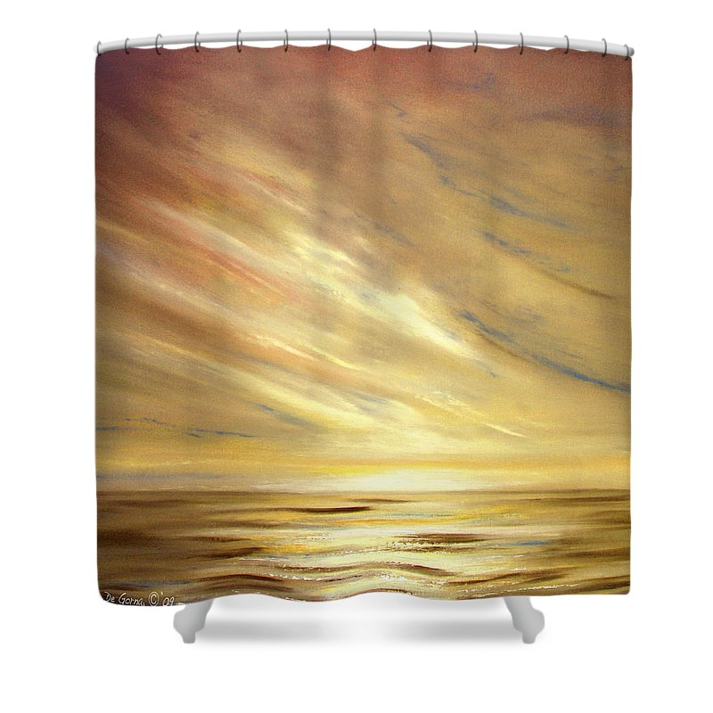 Gold Shower Curtain featuring the painting Another Golden Sunset by Gina De Gorna