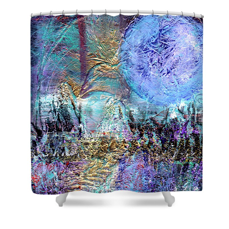 Abstract Shower Curtain featuring the painting Another World by Wayne Potrafka