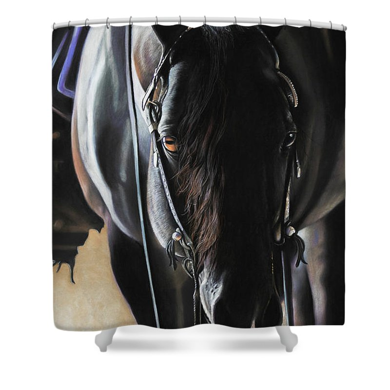 Aqha Shower Curtain featuring the pastel Any Time...Any Place by Joni Beinborn