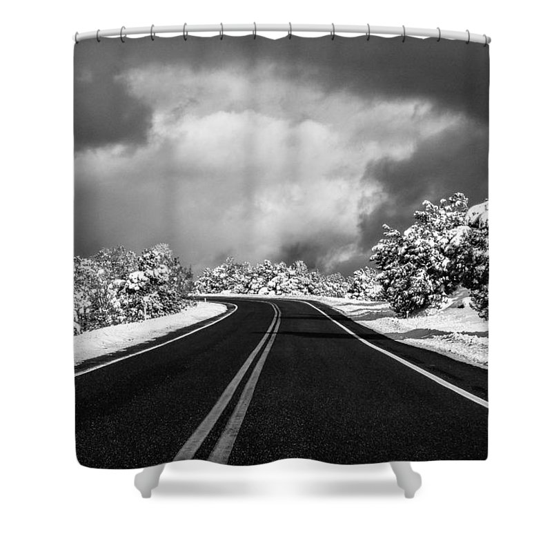 2 Pid Monochrome Open Shower Curtain featuring the photograph Arizona Snow by Gregory Daley MPSA