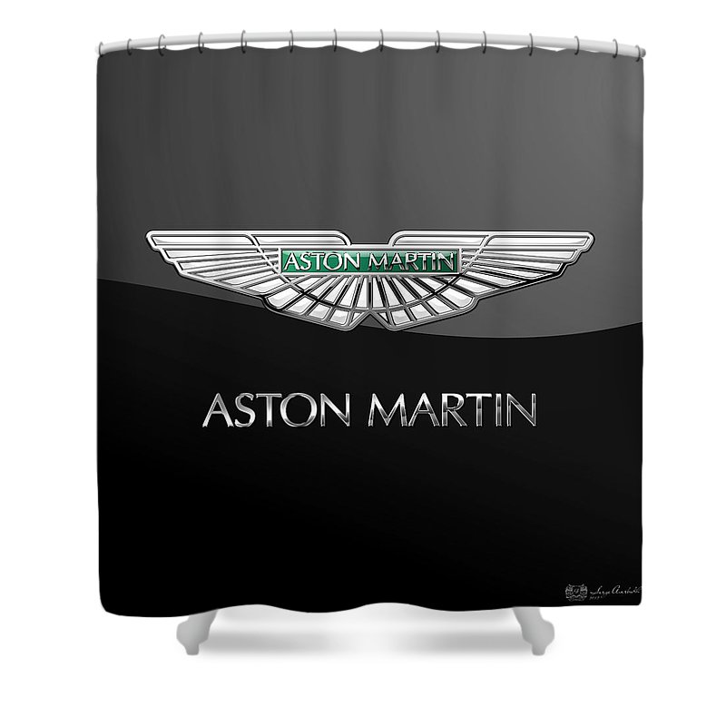 'wheels Of Fortune� Collection By Serge Averbukh Shower Curtain featuring the photograph Aston Martin 3 D Badge On Black by Serge Averbukh