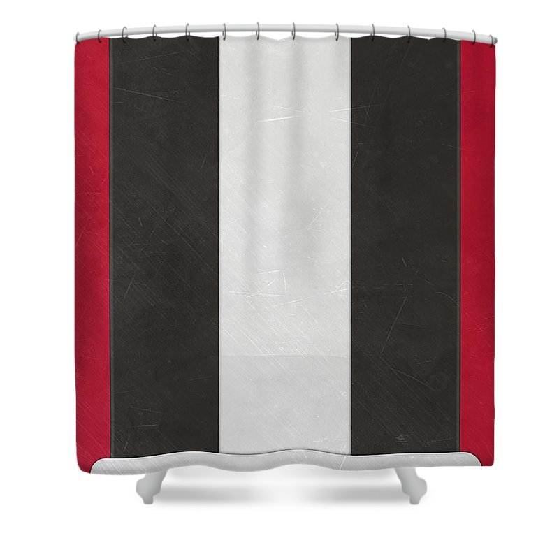 Falcons Shower Curtain Featuring The Mixed Media Atlanta Helmet Art By Joe Hamilton