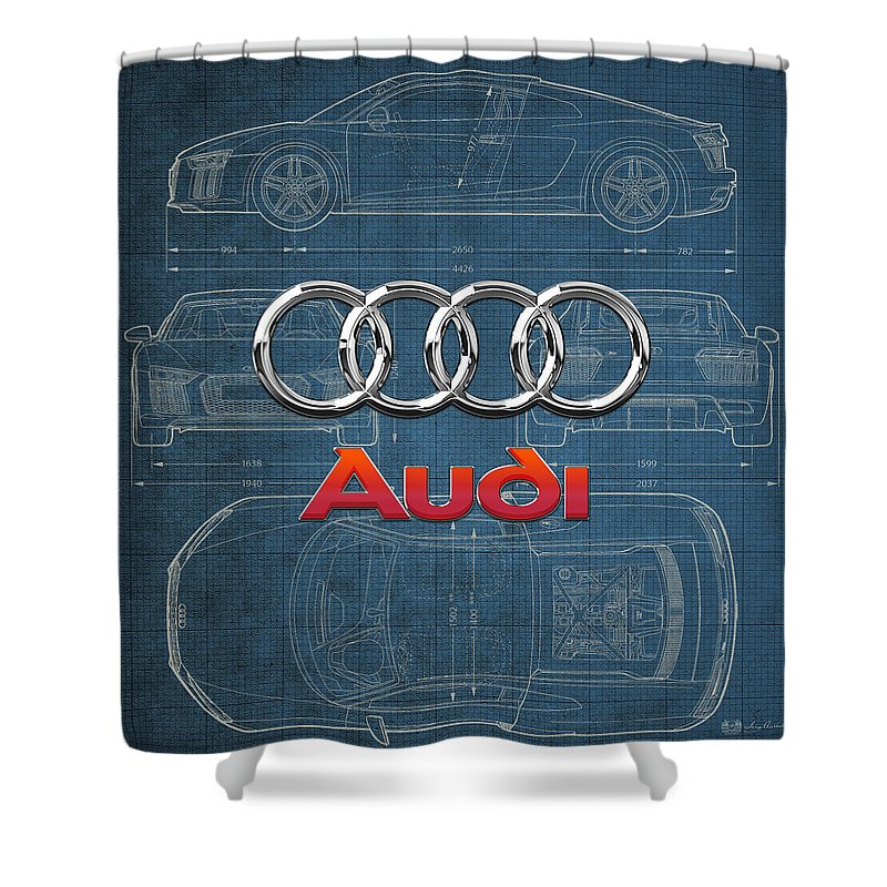 �wheels Of Fortune� Collection By Serge Averbukh Shower Curtain featuring the photograph Audi 3 D Badge over 2016 Audi R 8 Blueprint by Serge Averbukh