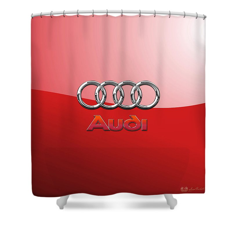Wheels Of Fortune By Serge Averbukh Shower Curtain featuring the photograph Audi - 3d Badge On Red by Serge Averbukh