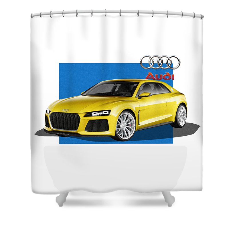 �audi� Collection By Serge Averbukh Shower Curtain featuring the photograph Audi Sport Quattro Concept with 3 D Badge by Serge Averbukh