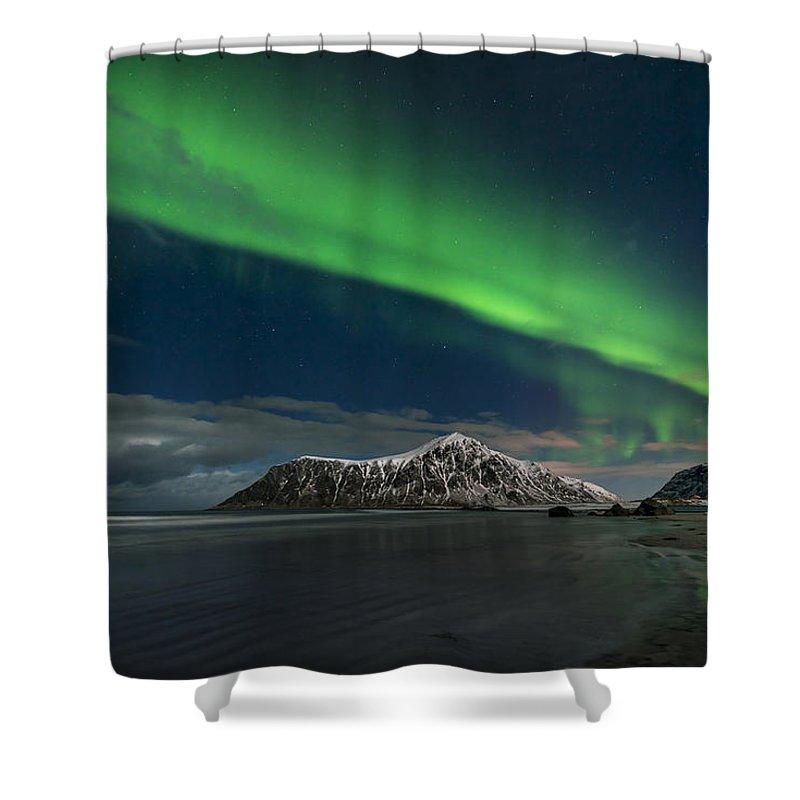 Island Shower Curtain featuring the photograph Aurora Borealis, Northern Lights by Jacek Kadaj