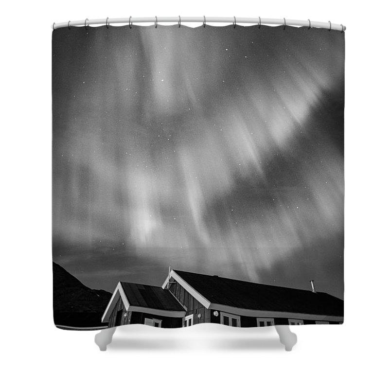 Aurora Shower Curtain featuring the photograph Aurora Tasiilaq Greenland 7839 by Bob Neiman