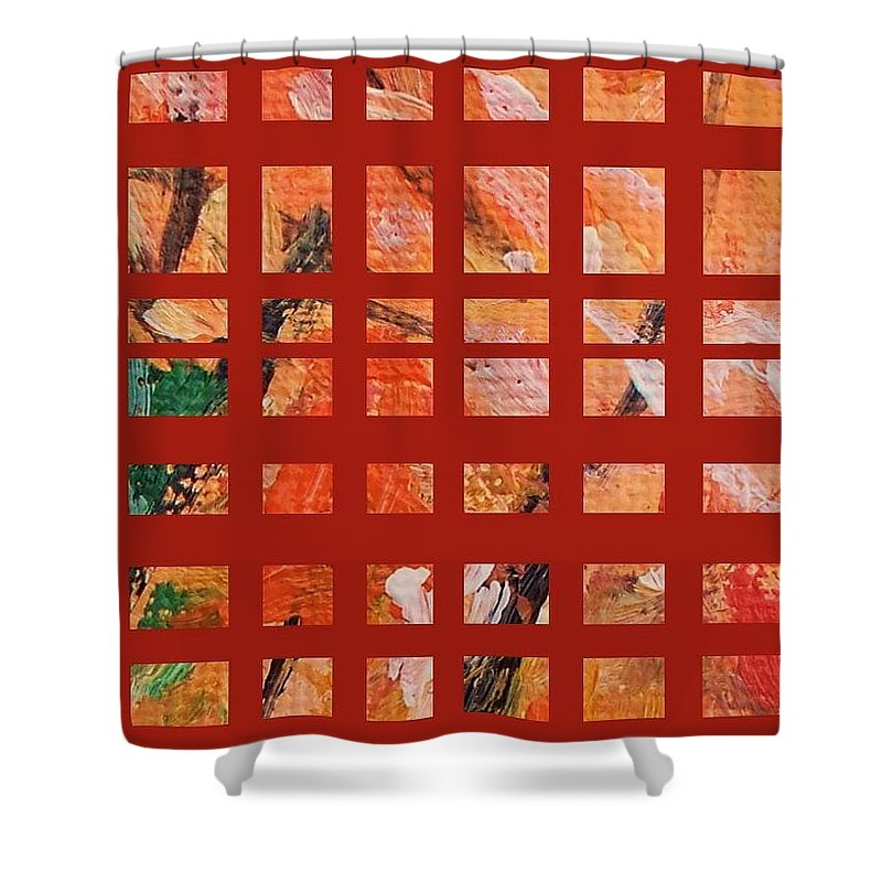 Autumn Shower Curtain featuring the painting Autumn Abstract by Eric Schiabor