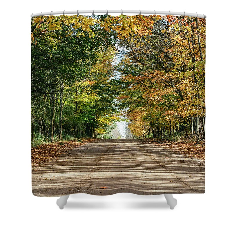 35mm Film Shower Curtain featuring the photograph Autumn Backroad by John McGraw