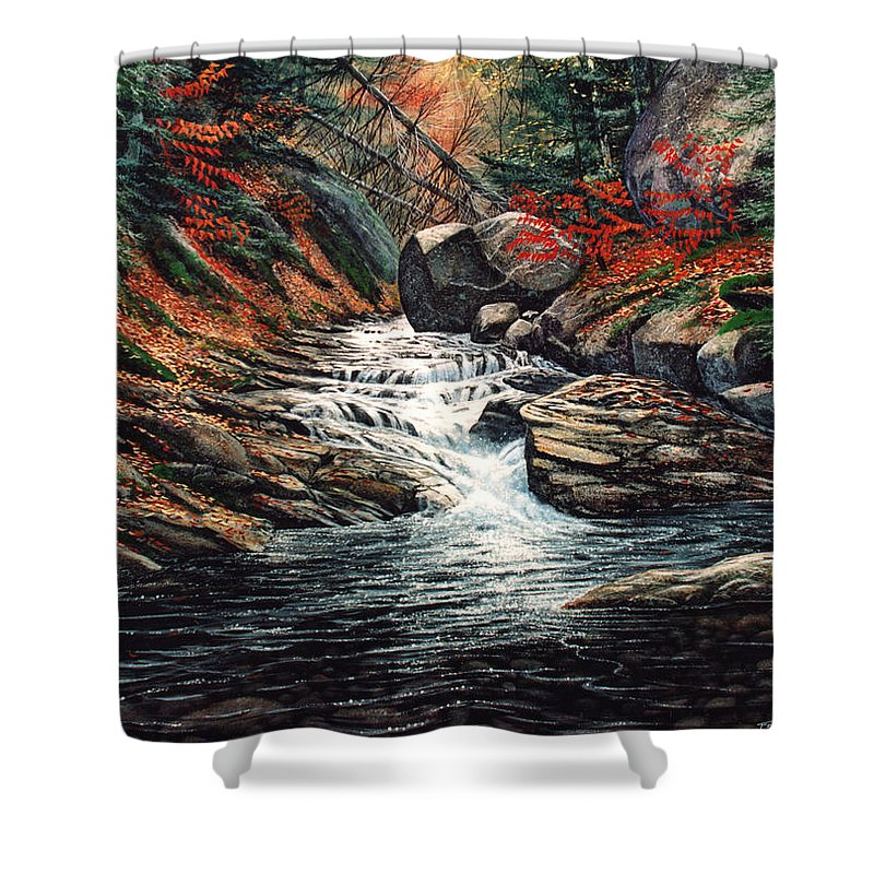 Landscape Shower Curtain featuring the painting Autumn Brook by Frank Wilson