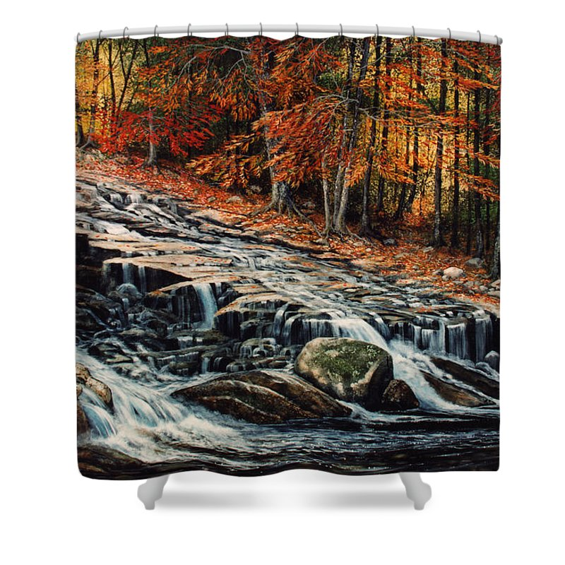 Landscape Shower Curtain featuring the painting Autumn Cascade by Frank Wilson