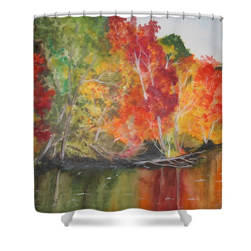 Autumn Shower Curtain featuring the painting Autumn Splendor by Jean Blackmer
