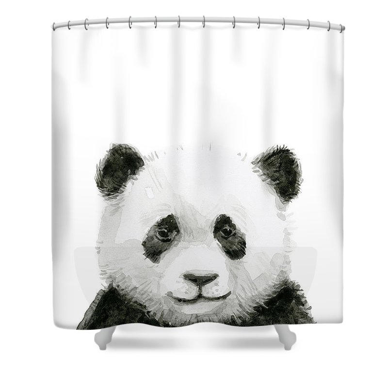 Baby Panda Shower Curtain Featuring The Painting Watercolor By Olga Shvartsur