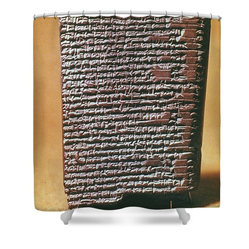 6th Century B.c. Shower Curtain featuring the photograph Babylonian Clay Tablet by Granger