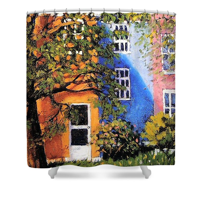 Scenic Shower Curtain featuring the painting Backyard by Jonathan Carter
