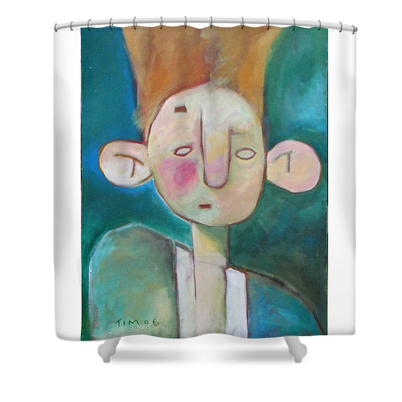 Funny Shower Curtain featuring the painting Bad Hair Life by Tim Nyberg