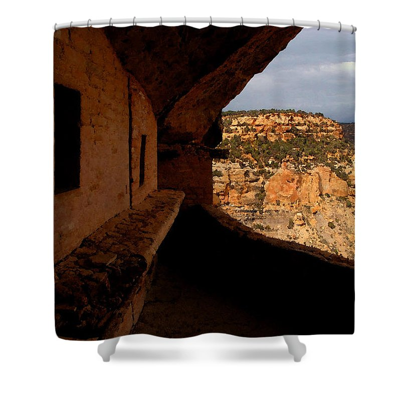 Art Shower Curtain featuring the painting Balcony House by David Lee Thompson