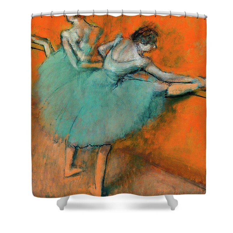 Ballerinas At The Bar Shower Curtain featuring the painting Ballerinas At The Bar by Edgar Degas