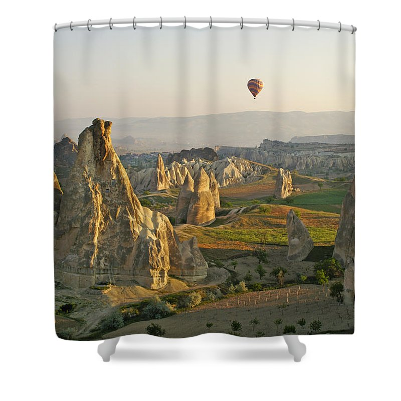 Turkey Shower Curtain featuring the photograph Ballooning In Cappadocia by Michele Burgess