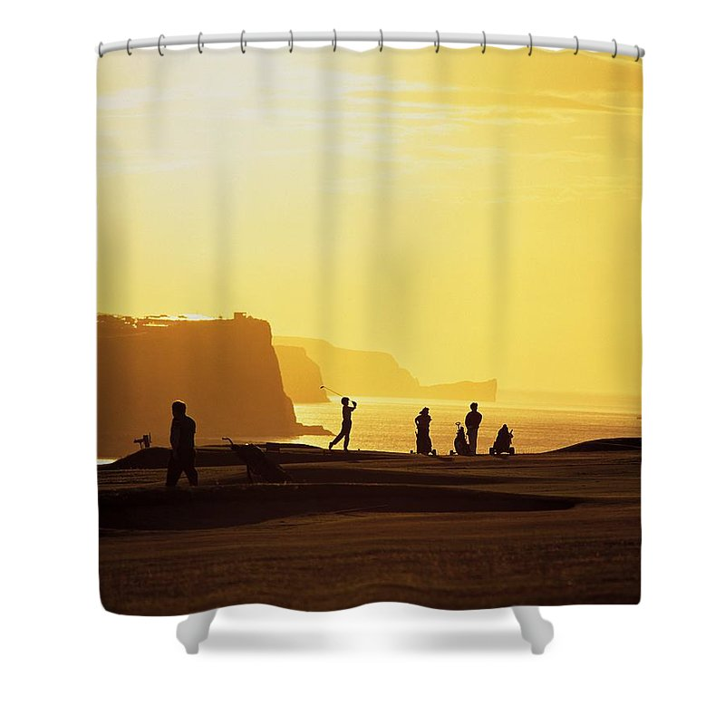 Antrim Coast Shower Curtain featuring the photograph Ballycastle Golf Club, Co Antrim by The Irish Image Collection