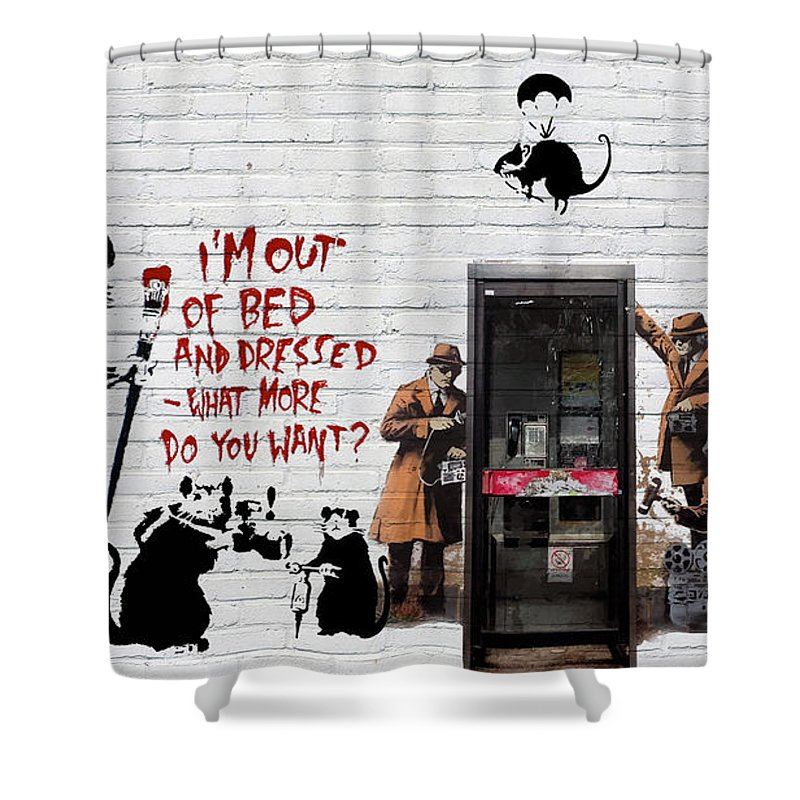 �urban Graffiti� Collection By Serge Averbukh Shower Curtain featuring the photograph Banksy - The Tribute - Rats by Serge Averbukh