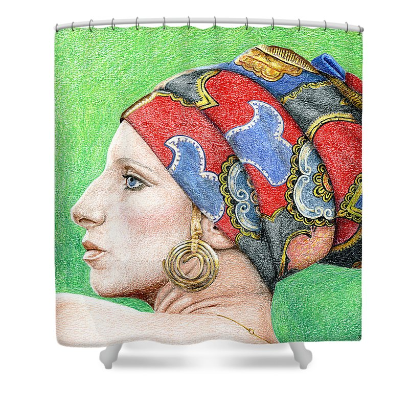 Singer Shower Curtain featuring the drawing Barbra Streisand by Rob De Vries