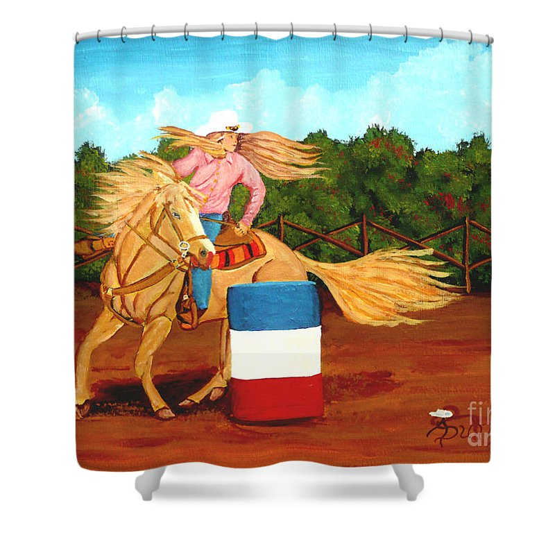 Rodeo Shower Curtain featuring the painting Barrel Racer by Anthony Dunphy
