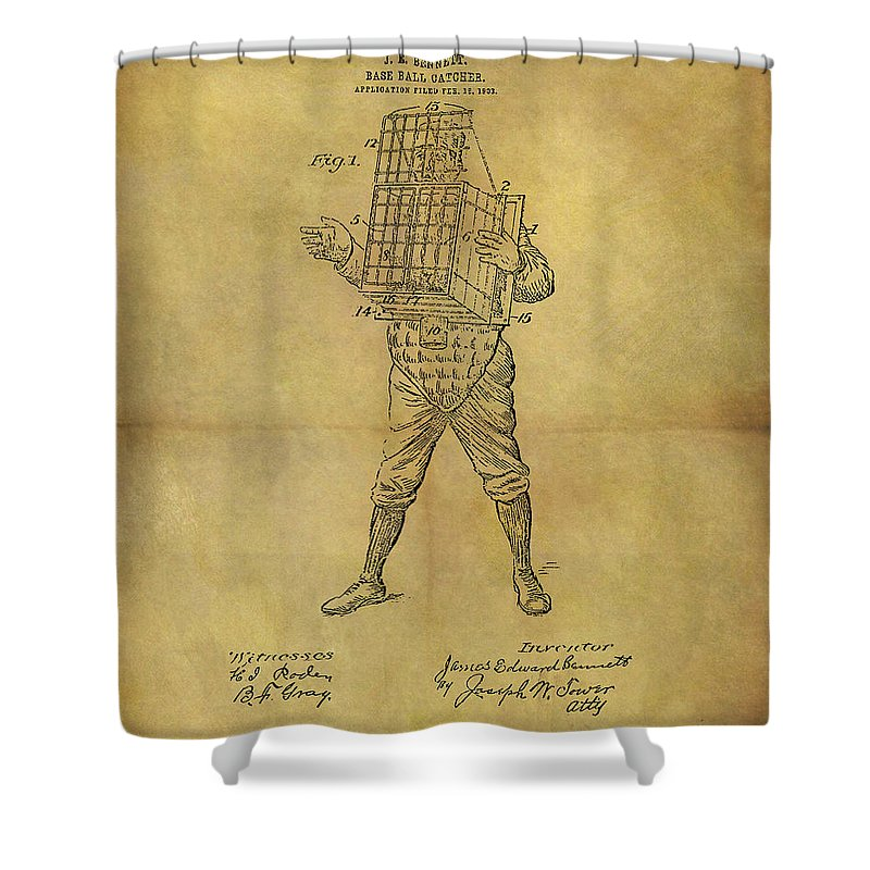 Baseball Catcher's Mask Patent Shower Curtain featuring the drawing Baseball Catcher's Mask Patent by Dan Sproul