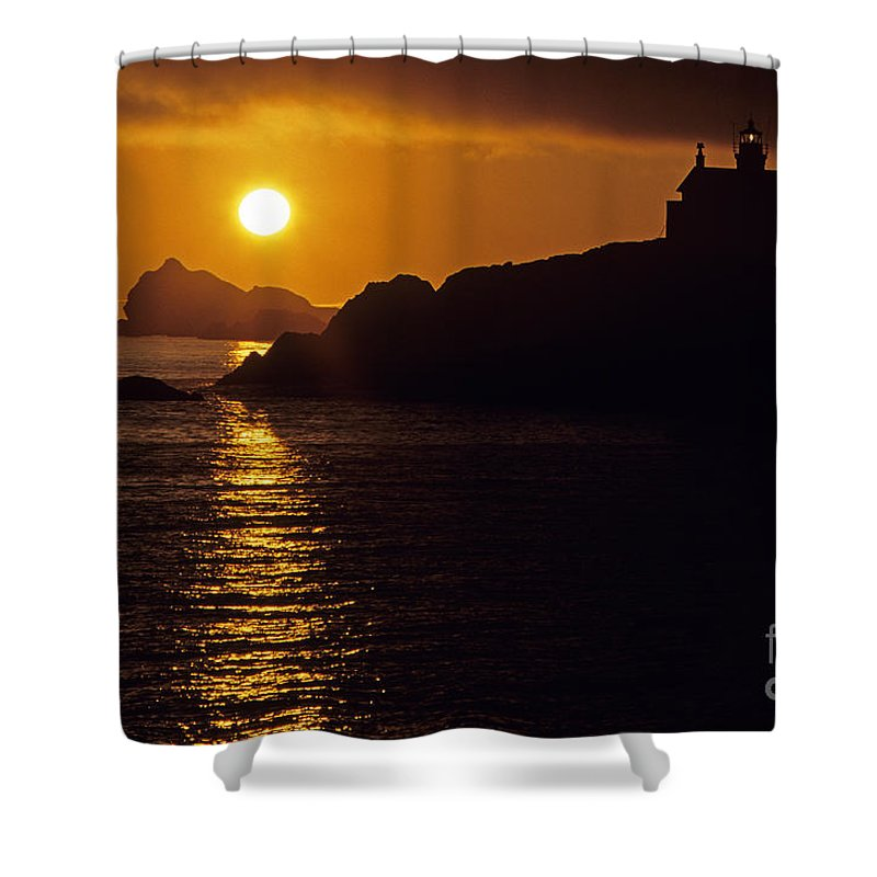 Landscape Shower Curtain featuring the photograph Battery Point Lighthouse by Jim Corwin