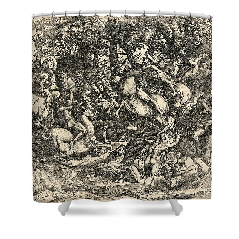 Domenico Campagnola Shower Curtain featuring the drawing Battle Of Nude Men by Domenico Campagnola