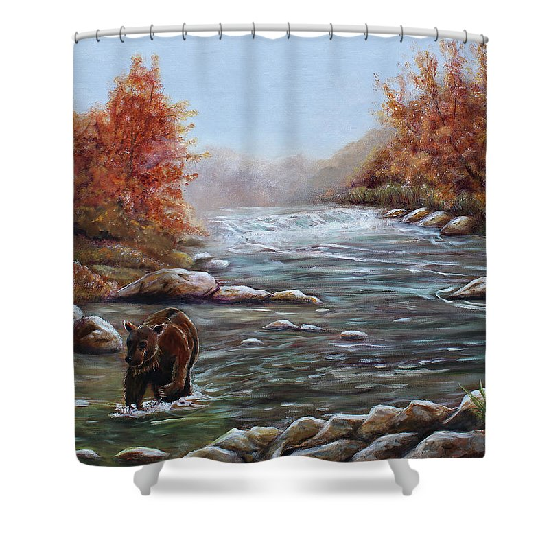 Bears Shower Curtain featuring the painting Bear In Fall by Dorothy Riley